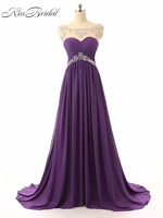 Robe De Soiree Longue A Line Purple Evening Dresses 2017 Sheer Scoop Neck Sleeveless Lace Up