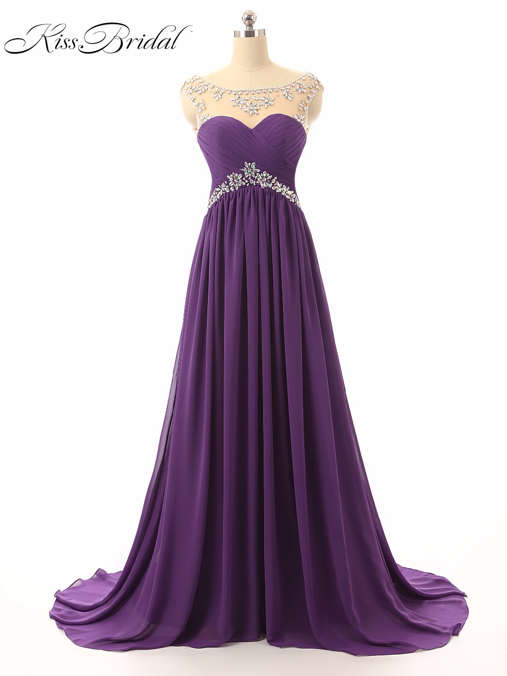 Robe de Soiree Longue A-Line Purple   Evening     Dresses   2017 Sheer Scoop Neck Sleeveless Lace Up Back Formal   Evening   Gowns