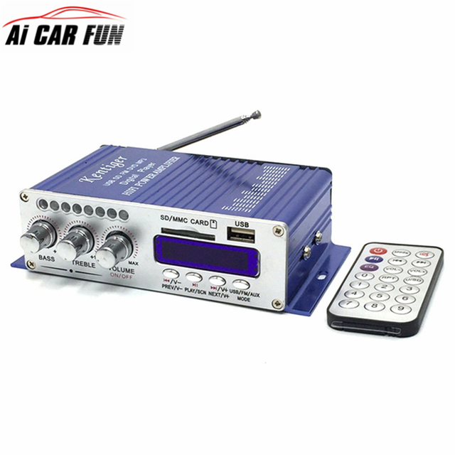 Best Price MA502S Bluetooth Small Power Amplifier Card Reading USB Amplifier FM Radio 12V Amplifier with Remote Control Digital Display