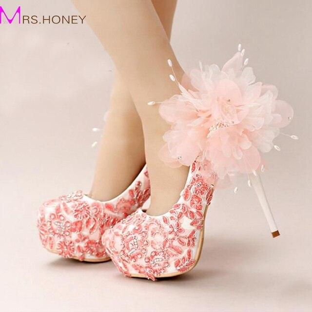 Handmade lace appliques wedding shoes pink flower bridal dress shoes handmade lace appliques wedding shoes pink flower bridal dress shoes women beautiful high heel shoes platform mightylinksfo