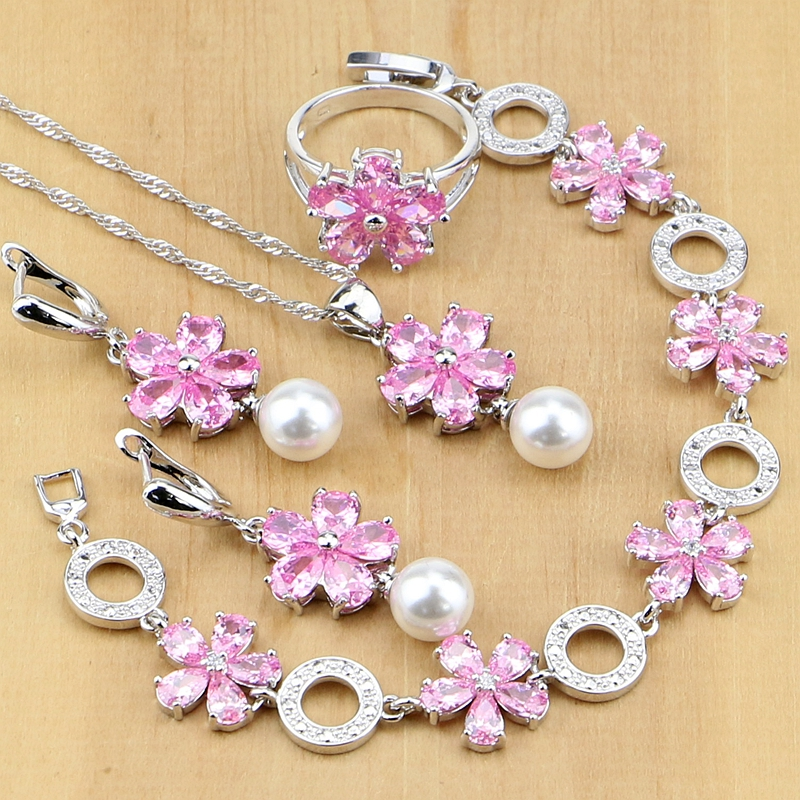 Elegant 925 Sterling Silver Jewelry Sets Pink Zircon With Pearl Beads For Women Wedding Earrings/Pendant/Rings/Bracelet/Necklace