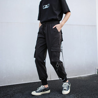 New Women Black Cargo Pants Big Size Military Style Streetwear with Many Pockets Tapered Women Overalls Rock Ribbon Trousers