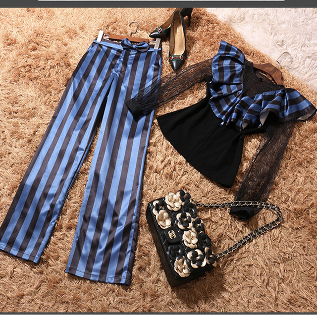 2017 New Summer Fashion Slim Sexy Stripe Patchwork Gauze Ruffles Long Sleeve Shirt + Long Pants Two Piece Suits Tide