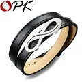 OPK Black/Brown Leather Charm Bracelet Classical Infinity Design Stainless Steel Men Boys Jewelry Double Layer Accessories PH972
