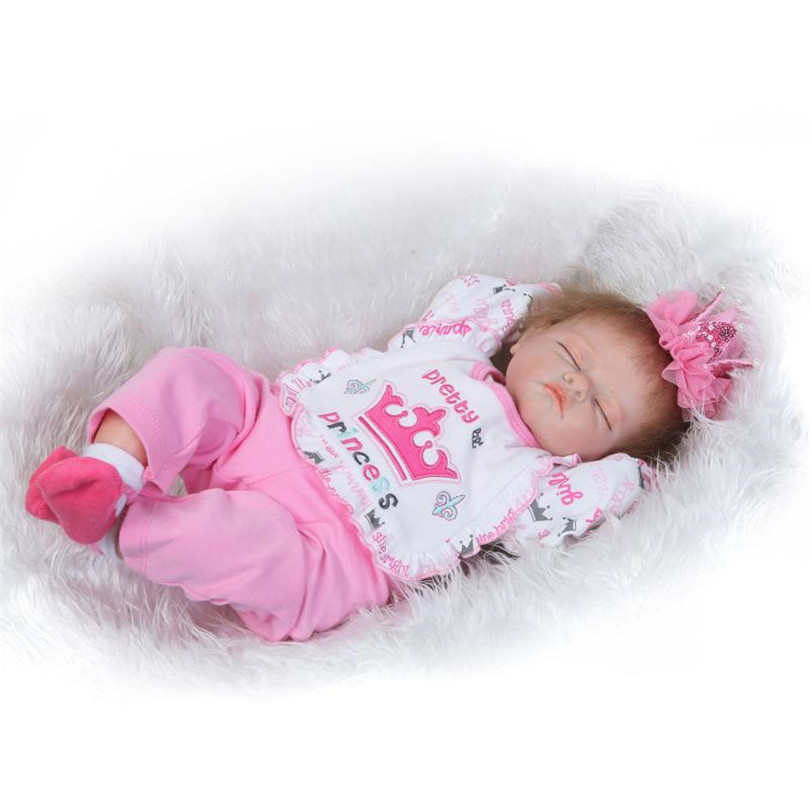 Lovely Princess Girl Dolls Reborn Babies Cotton Body Doll Silicone Baby Born Simulated Brinquedos Bedtime Early Education Toy 22inchs soft silicone reborn baby doll handmade clothes little girl doll reborn brinquedos early education reborn baby dolls