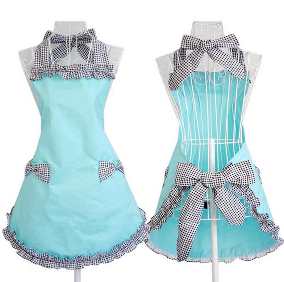 Blue apron free - Luxury Aprons Grid Restaurant Sky Blue Nail Beauty Fashion Apron Princess Dress Free Shipping China