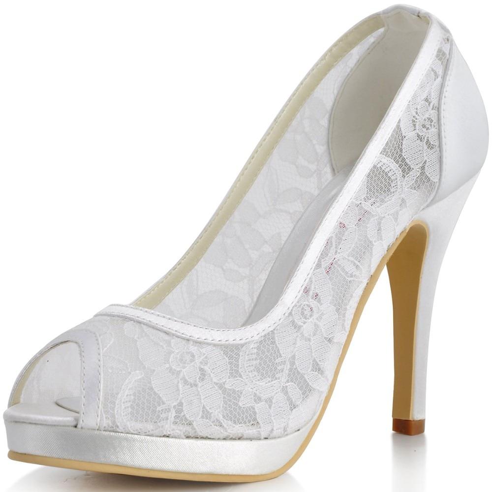 цена на Women Shoes EP11084-PF White Fashion Evening Bridal Party Pumps Peep Toe Cut UP High Heels Platforms Lady Lace Wedding Shoes