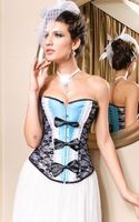New Arrival Women Blue Elegant Corset Sexy Boning Corset 3S3131 2014 Free Shipping Mariela Corset Sexy