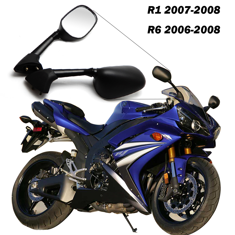 for yamaha r1 2007 2008 yzf r6 2006 2007 motorcycle mirror black one pair motorcycle rear [ 1000 x 1000 Pixel ]