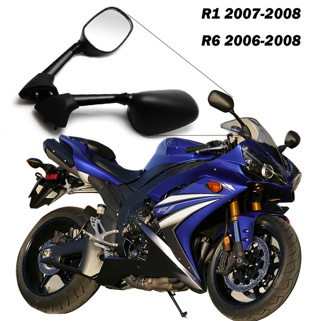 For YAMAHA R1 2007-2008 YZF-R6 2006 2007 Motorcycle Mirror Black One Pair Motorcycle Rear View Mirrors Motorcycle accessories