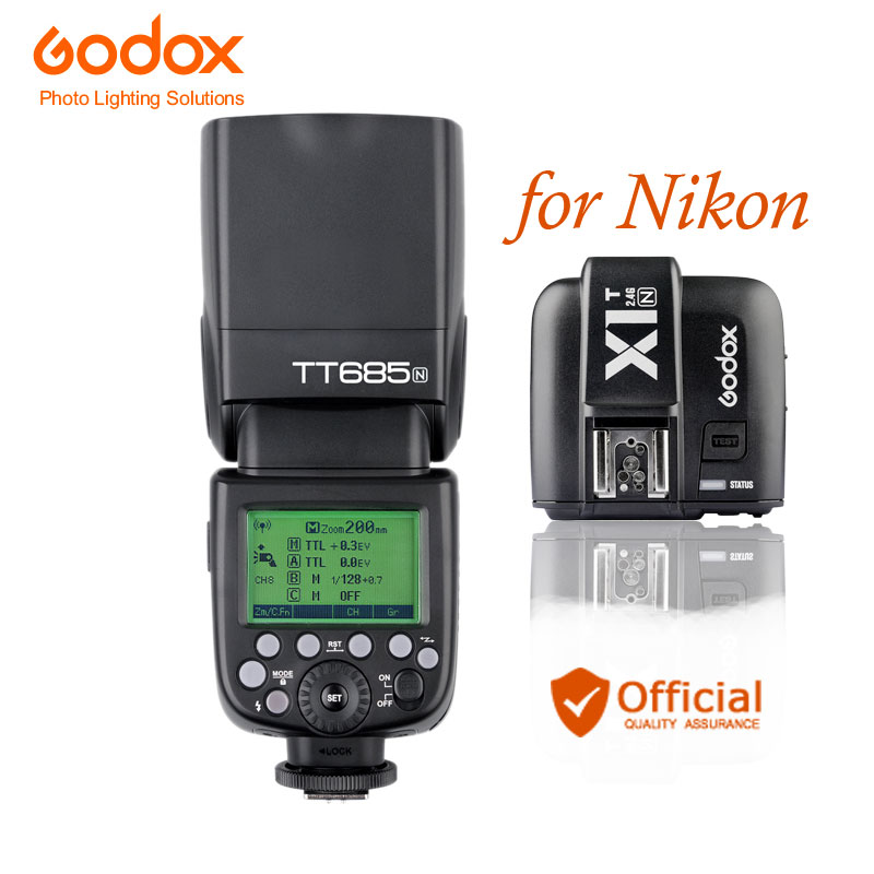 Godox TT685N 2.4G HSS i-TTL GN60 Wireless Flash + X1T-N TTL Trigger for Nikon D800 D700 D7100 D7000 D5200 D5100 D70S D810 D90 шапка для девочки marhatter цвет светло розовый mdh7223 размер 40 42