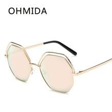 OHMIDA Nuevos Hombres Gafas de Sol Marca Diseñador Piloto Azul Espejo Poligonal Gafas De Sol Mujer Metal Gafas De Sol Mujer de La Vendimia