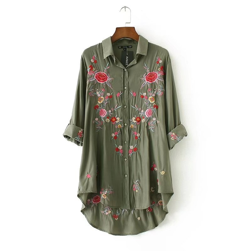 Fashion Tops Embroidery Floral Shirts Women Casual Loose Long Sleeve Cotton Blouse Shirt Army Green Black