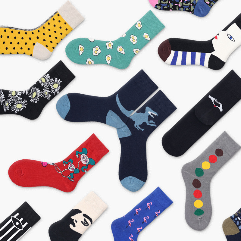 New Harajuku Women Skateboard   Socks   Unisex Cotton Funny Animal Patterned   Socks   Female Cartoon Painting Fun   Socks   Art Hipster
