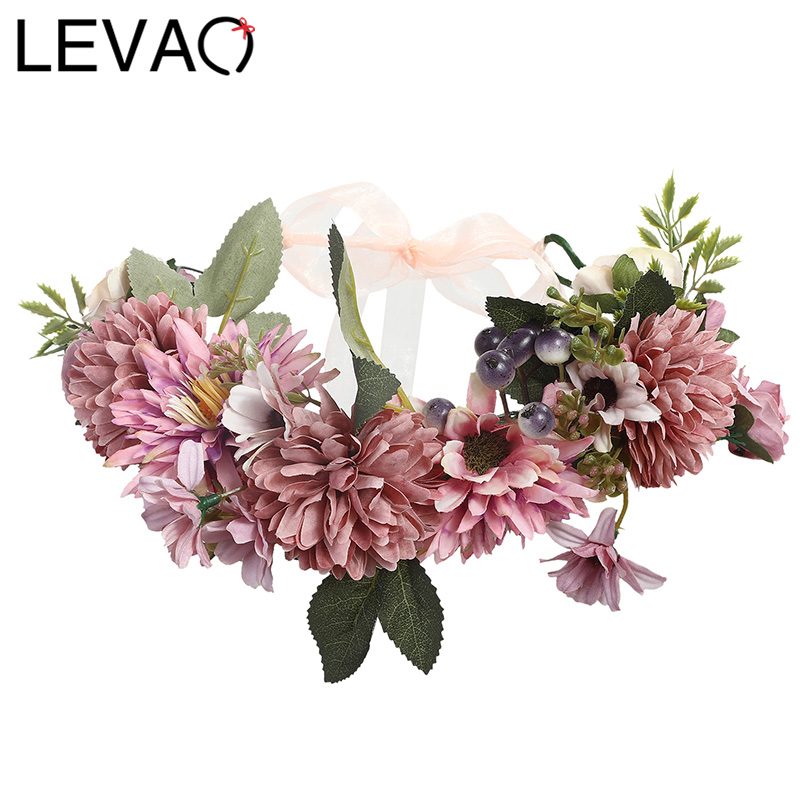 Flower Crown LEVAO 2019 Wedding Bohemian Wreath Hairband Party Floral Girl Hair Accessories Flower Headband Garland Headpiece