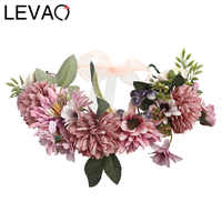 Flower Crown LEVAO 2020 Wedding Bohemian Wreath Hairband Party Floral Girl Hair Accessories Flower Headband Garland Headpiece