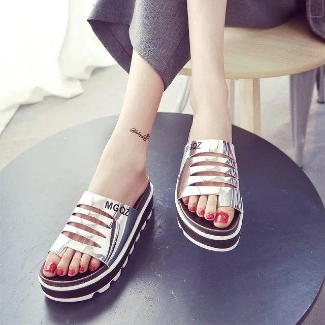 Plataforma Romanas Toboganes plata Zapatos Mujeres Moda Zapatillas Negro Del Cómodo 2017 Flip blanco Sandalias Flops Verano Pisos 7zYpq41w