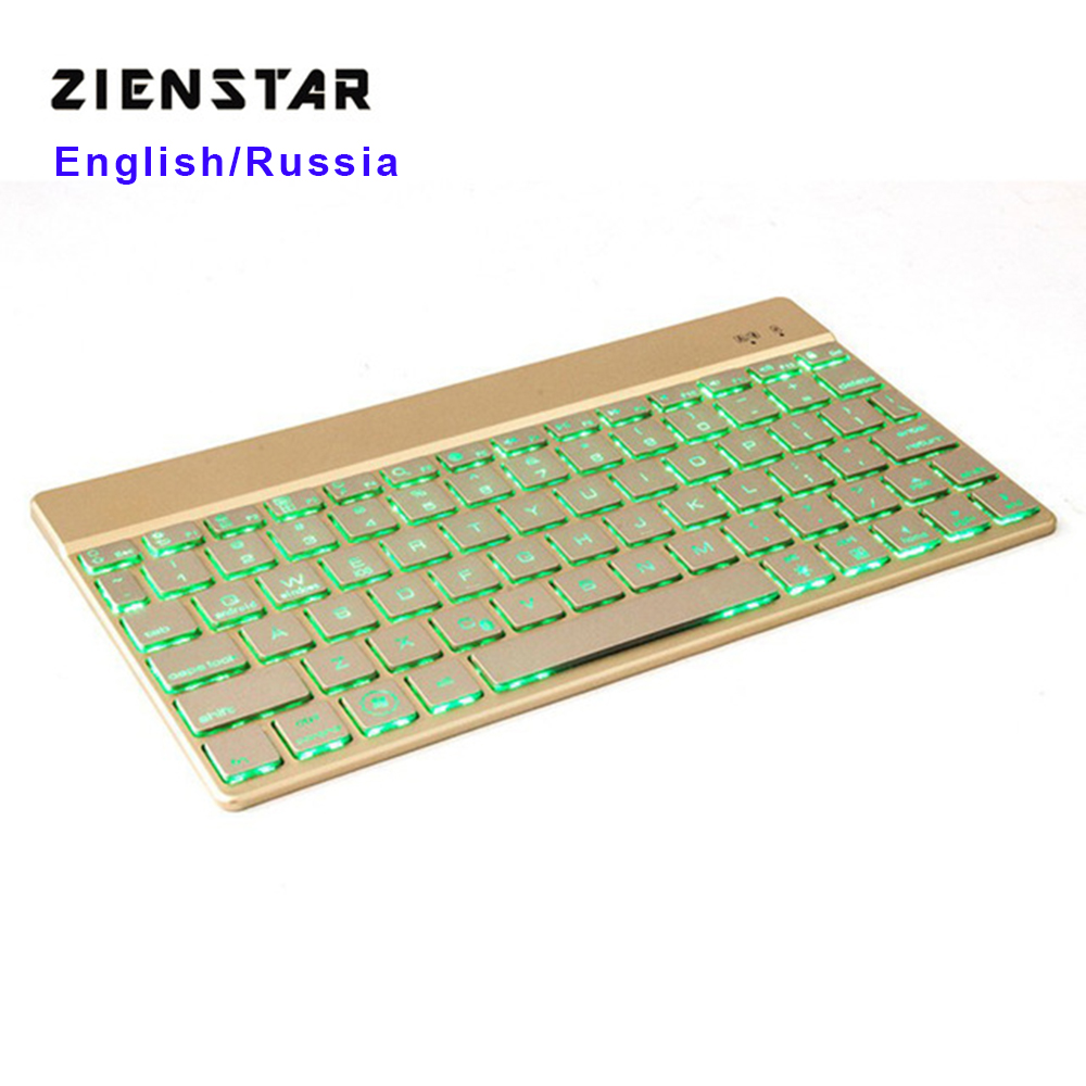 Zienstar فوق العاده باریک KEYBOARD KEYBOARD Bluetooth 3.0 با 7 رنگ چراغ عقب LED برای IPAD / Iphone / Mac / LAPTOP / PC DESKTOP / TABLET