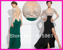 2014 Sexy Black Green See Through Crystal Women Long Evening Dress Gowns With Long Sleeves E5347