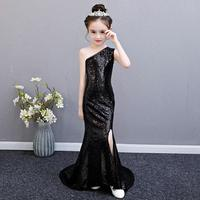 Black Sequined Dress Baby Girl Clothes Children's Sleeveless Princess Dress Wedding Birthday Party Dress Trailing Costume Y477