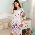 Women's floral nightgown short sleeve round neck plus size homewear gowns for women colors night sleepwear gown