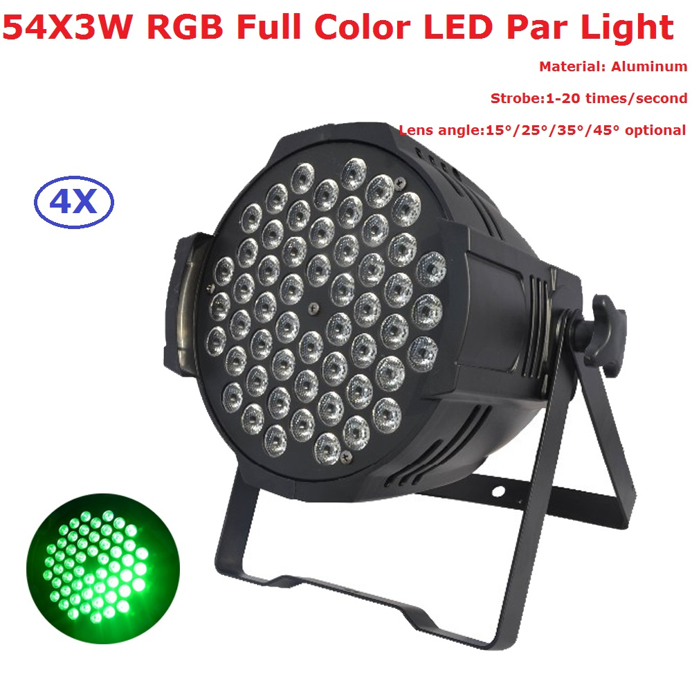 4Pcs/Lot 54X3W RGB Full Color Led Stage Par Lights High Power Par Cans With DMX512 Master Slave DJ Equipments Controller 2pcs lot led par cans 54x3w rgb 3in1