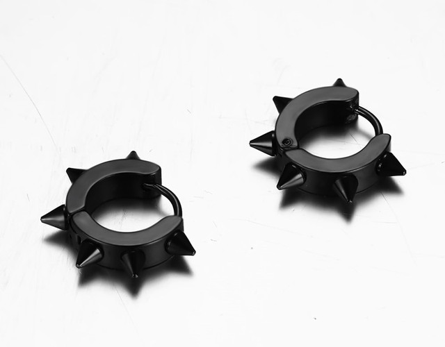 Men's Bold Clasp Spiked Earrings