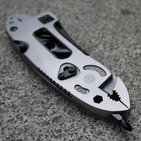 Multifunction Tools Outdoor Portable Adjustable Wrench Stainless Steel Jaw Screwdriver Pliers Knife Survival Tool Safety Gear