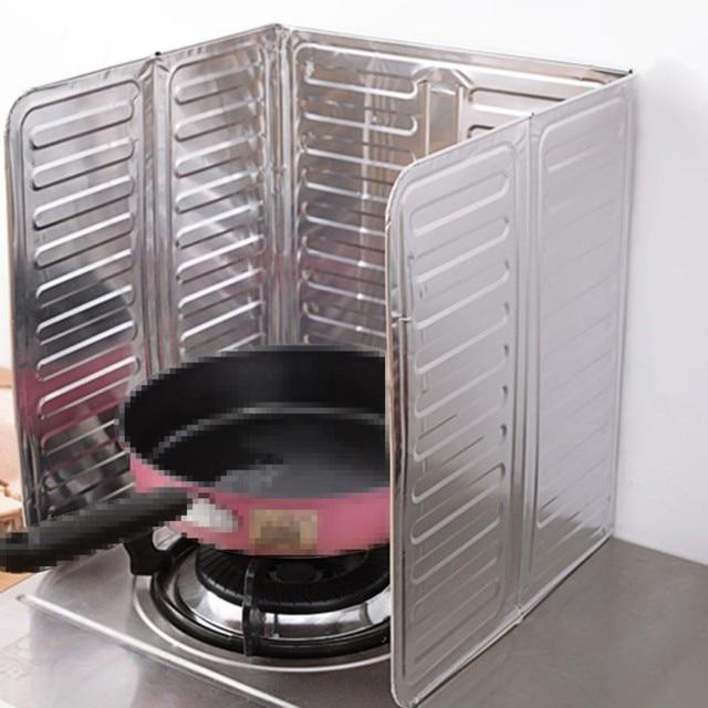 Seasenxi 1pc Kitchen Gas Stove Baffle Grease Foil Insulation Block Oil Splash Plate Cooking Hot Tinfoil Board Aluminum