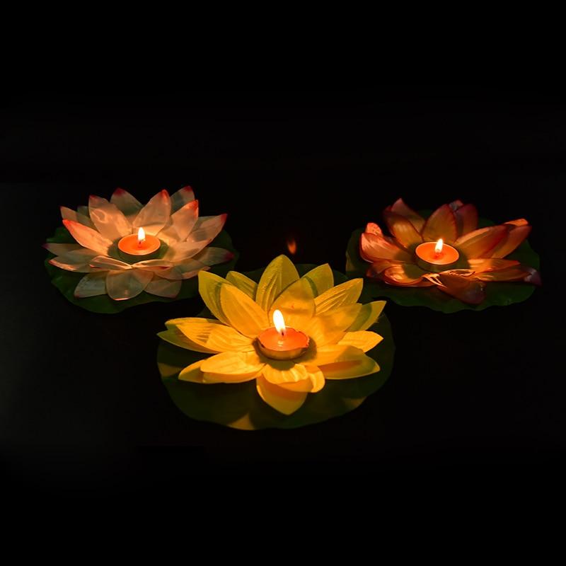 1PC Lanterns Lotus Cake Candle Paper Flower Water Light Lamp ...