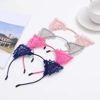 Women Lace Cat Ear Headband Solid Color Girl Hair Hoop Party Costume Cosplay New