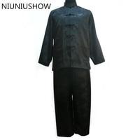 新しい黒人男性サテンパジャマセット中国伝統的なパジャマスーツ2ピースパジャマ風呂ガウンサイズml xl xxl xxxl