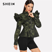 a36a5bf7c45e3c SHEIN Multicolor Zip Up Ruffle Armhole Camo Peplum Coat Military Stand  Collar Long Sleeve Outerwear Women