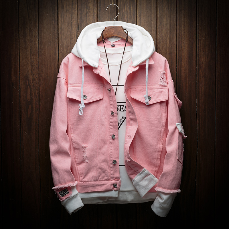 Men Autumn Hooded Denim Jackets Pink Jean Coats Good Quality Men Cotton Holes Denim Coats Fashion Jean Jackets Size 3XL