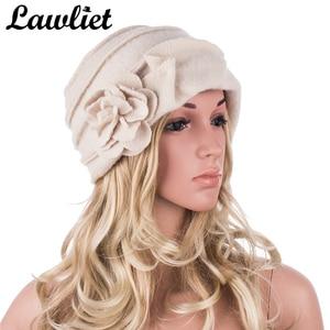 Image 2 - Elegancki 1920s styl kapelusze damskie zimowe Beret czapki Beanie dla kobiet wiadro Cloche Cap 100% gotowane wełny ciepłe kapelusze A376