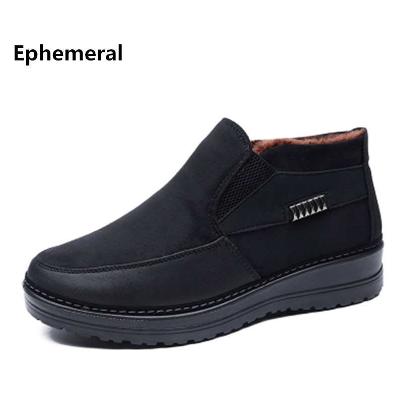 Shoes Loafers High-Top Black Plus-Size Casual Fashion Brand 50 Man Fur Solid Winter 38-49-48