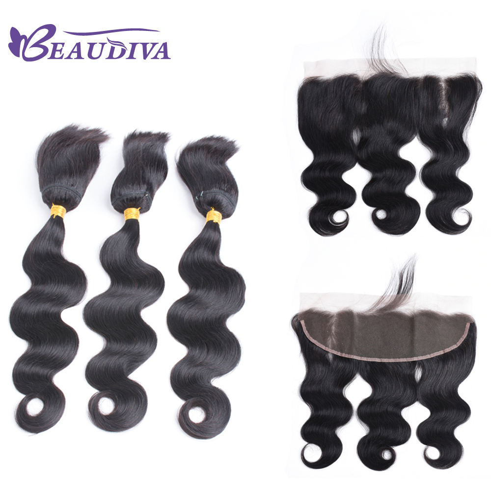 BEAUDIVA Crochet Braid In Bundles With Lace Frontal Natural Color Brazilian Body Wave Hair With Closure Remy Human Weave Hair