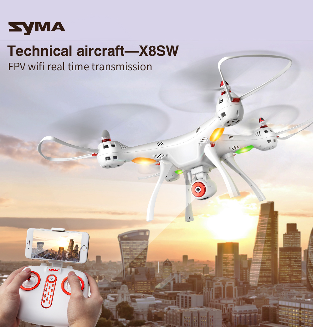 SYMA X8SW 2.4G WIFI FPV Real-time Transmission 4CH 6Axis Altitude Hold RC Quadcopter wit ...