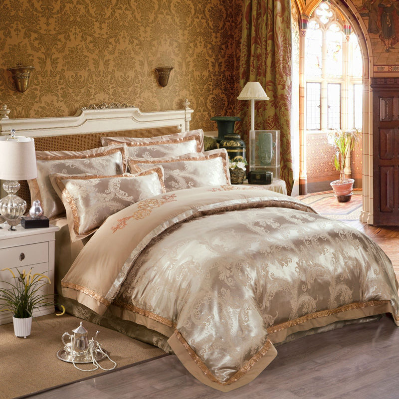 fashion luxury duvet cover set light tan chinese classical style print linens silk cotton jacquard queenking size bedding sets