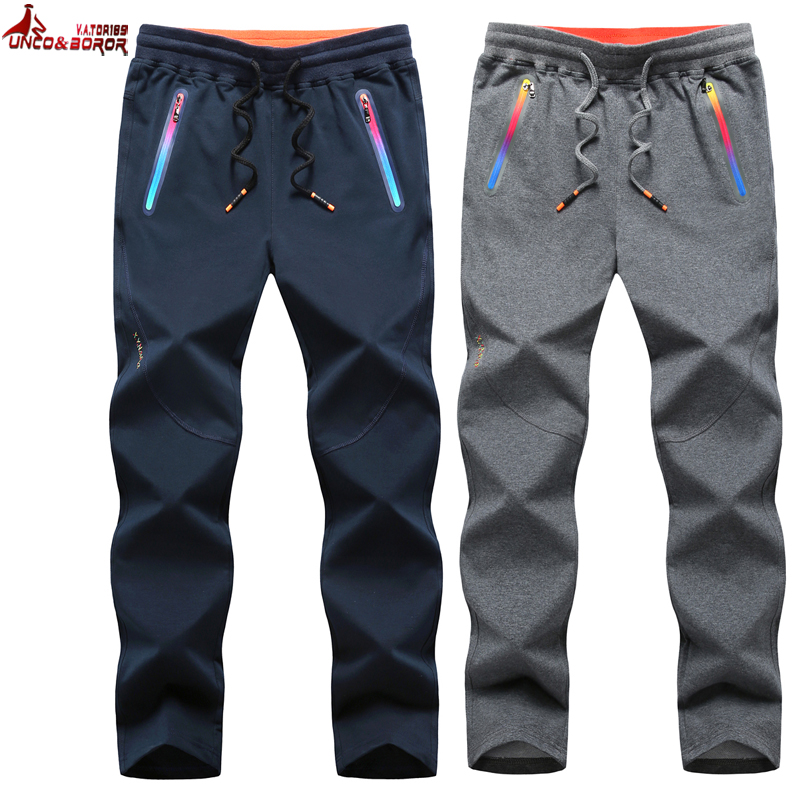 UNCO&BOROR Plus Size L~6XL 7XL 8XL Winter Autumn Men Pure Cotton Loose Elastic Pants Men Sweatpants Joggers Sporting Trousers