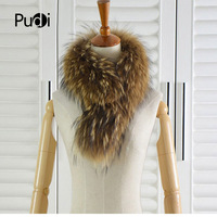S141001 Genuine raccoon dog fur scarf snood natural color Scarves Neck Warmer Wrap Cape Shawl 75cm*15cm
