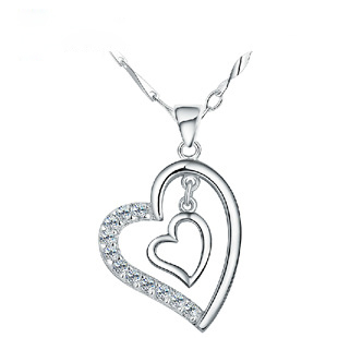 hot selling 2014 wholesale 925 sterling silver jewelry lady heart shaped brilliant chain necklace Pendants of women girl