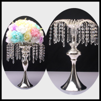 Crystal Metal flower stand for wedding decor wedding table vase decoration crystal flower wreath display