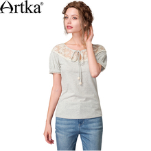 Artka 2018 Summer New Embroidered Lace Stitching Short Raglan Sleeve Tie Collar Cotton T-shirt TA10573X