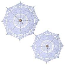 Ручное открытие Свадебный зонтик выдалбливают Вышивка Кружева Сплошной Белый Цвет Романтический реквизит для фотосессии с деревянной рукой
