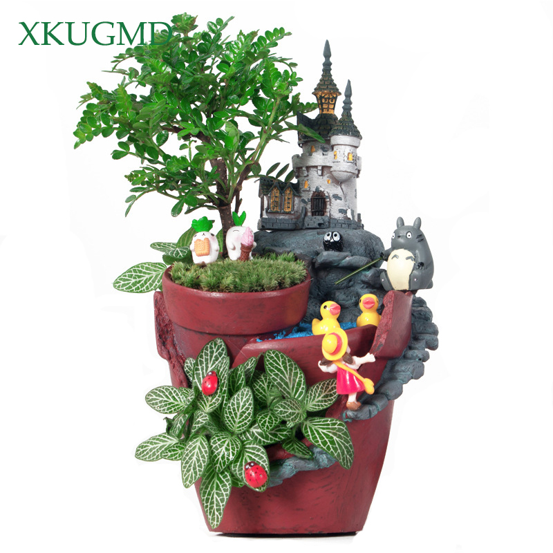 Creative Castle House Shaped Resin Garden Pot New Novelty Bonsai Plant Flower Pot For Rural House Planter Office Desk Decoration