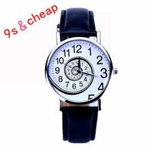 2017 New Women Girl Ladies Clock Swirl Pattern Leather Analog Quartz Wrist Watch Free shipping #30717 Wholesale