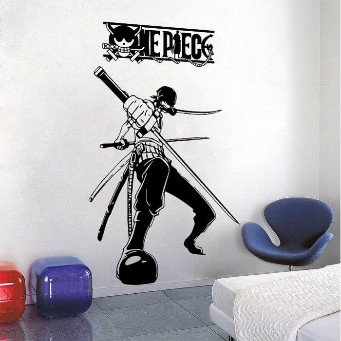 ONE PIECE RORONOA ZORO vinyl wall art decoration, handsome character wall sticker, sea fan room decoration wall sticker HZW02-in Wall Stickers from Home & Garden