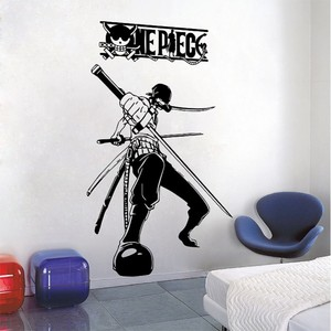 Image 1 - ONE PIECE RORONOA ZORO vinyl wall art decoration, handsome character wall sticker, sea fan room decoration wall sticker HZW02
