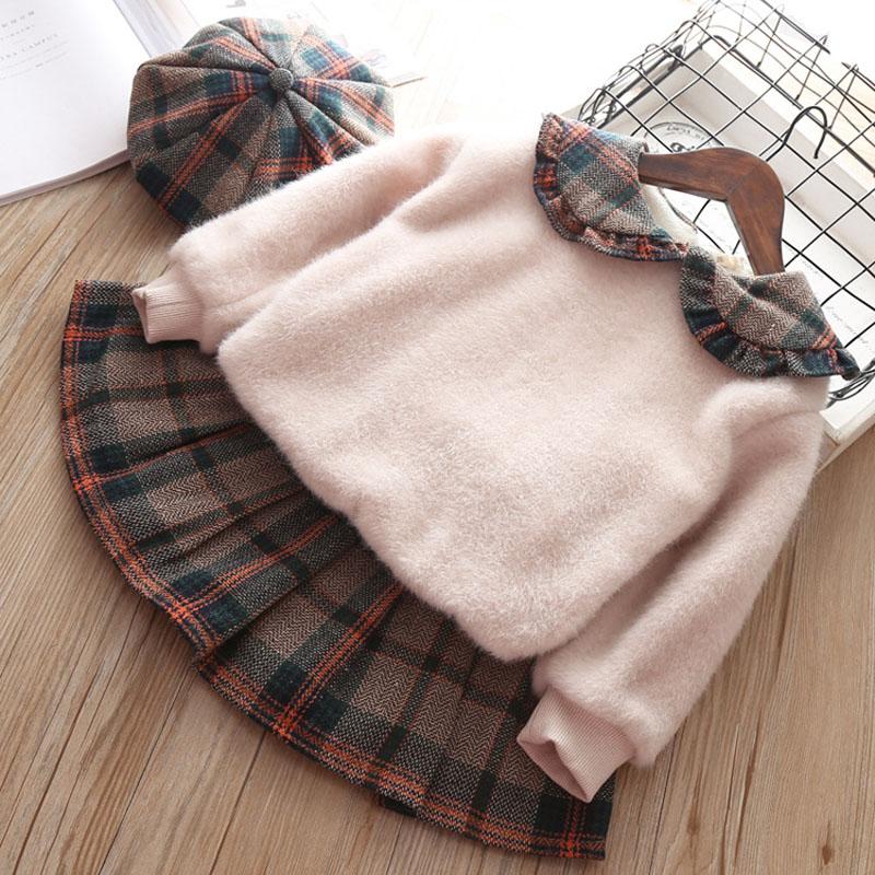 Kids Clothes Set For Girls Toddler Baby Girl Clothes Sweatshirt+Plaid Skirt Set Autumn Winter Girls Children School Clothing Hat